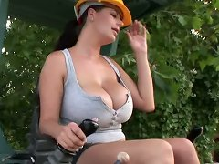 Busty babe Rebecca Jessop gets wet & naked at work