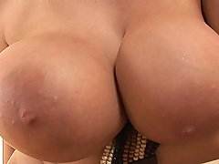 Hot busty tanned babe Rye toying her shaved pussy