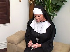 This slutty nun gets filled with cock instead holiness.