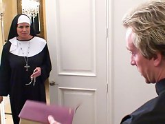 Kelly the nun get comforting and cock from the priest she confides in.