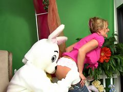 Kelly Madison gets rabbit fucked and gets covered in his white bunny load.