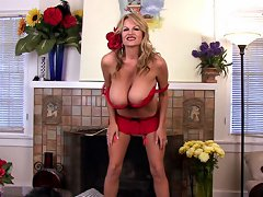 Kelly a slutty lolita fucks herself with a huge red dildo in a red bra.