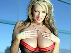 Kelly Madison on top of a building showing off her natural breasts.
