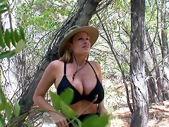 Mountains, trees and cock get Kelly all horny as she hikes outdoors where she finds all three handy.